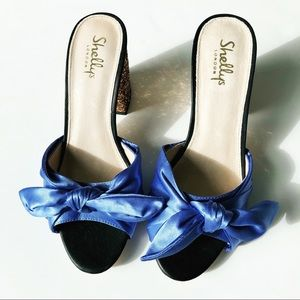 Shelly's London Blue Satin Knot Glitter Mules